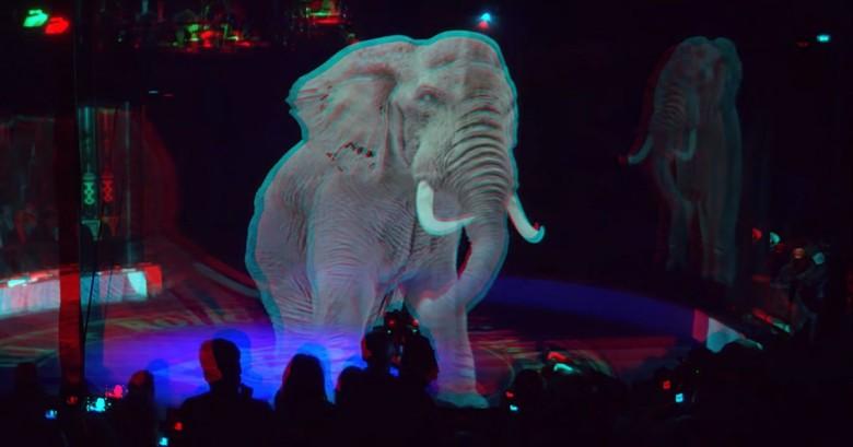Circo troca animais de verdade por show com hologramas 3D-elefante