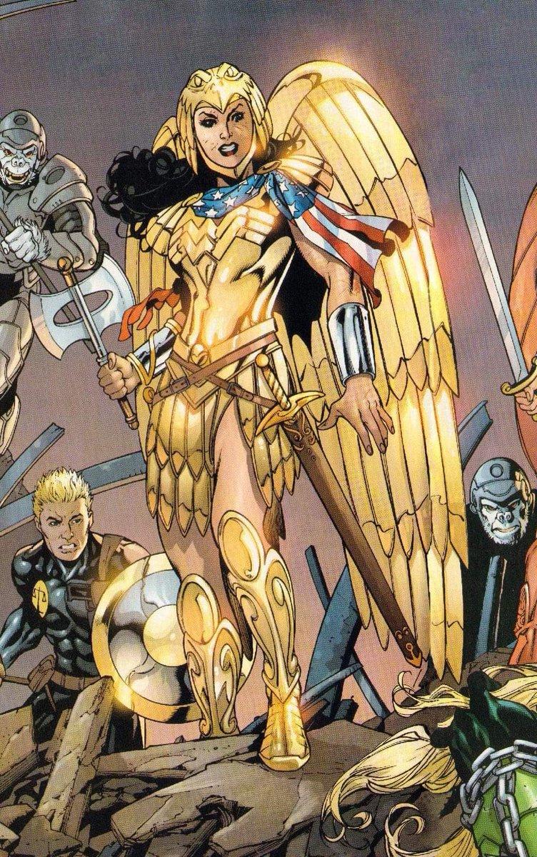 O traje dourado remete a situações de grandes desafios para a heroína.