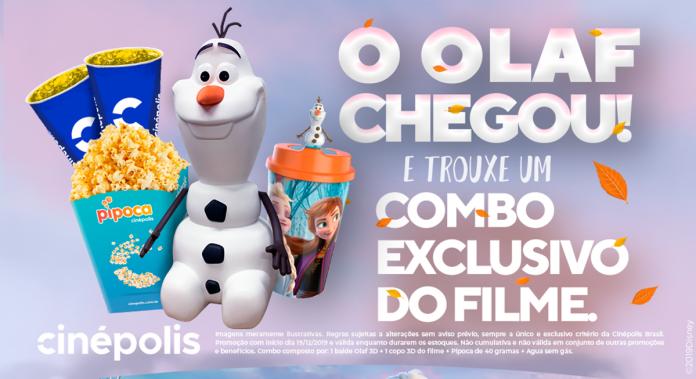 Olaf vira balde de pipoca em combo de Frozen 2