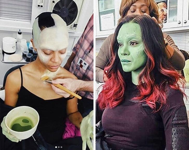 Essa foi a maquiagem de Zoe Saldana para atuar em Guardiões da Galáxia: